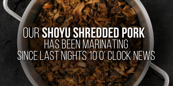 Onze uit Okinawa geïnspireerde Shoyu Shredded Pork